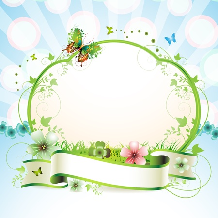 white daisy: Banner with flowers and butterflies