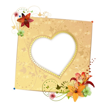 gold heart: Frame background with heart shape and flowers