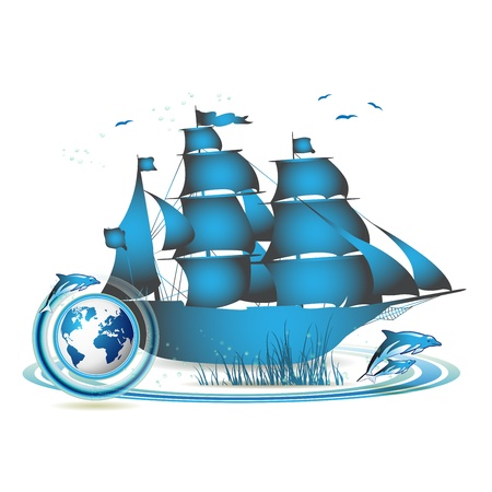 Blue Earth with ship and dolphins isolated on white  Vector