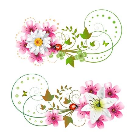 butterfly ladybird: Composici�n de flores y mariposas