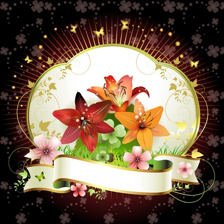 Banner with flowers and butterflies Stock Vector - 13007767