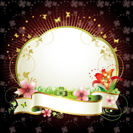 Banner with flowers and butterflies  Stock Vector - 13007756
