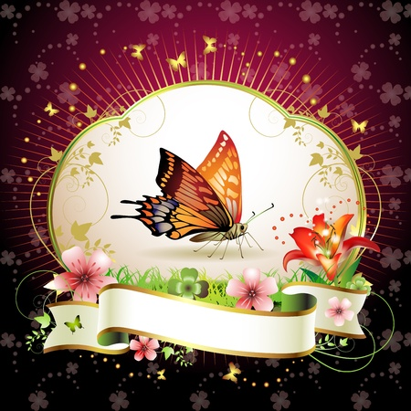 Red butterfly with flowers and ribbon  Stock Vector - 13007757