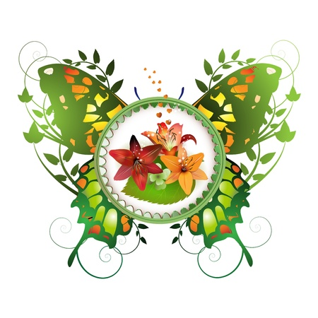 Frame with flowers arrangement and decorative butterfly Vector