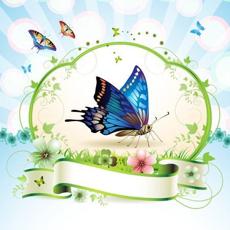 Blue butterfly with flowers and ribbon  Vector
