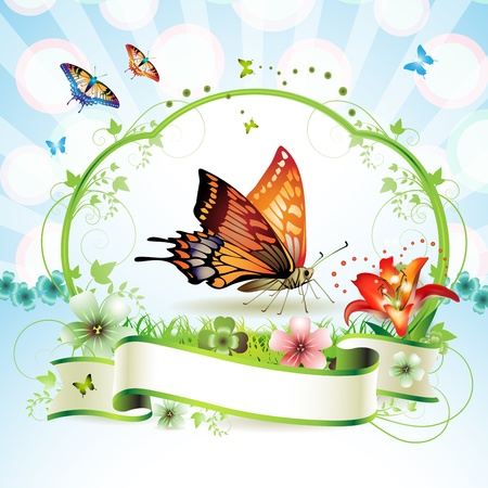 banner floral: Red butterfly with flowers and ribbon