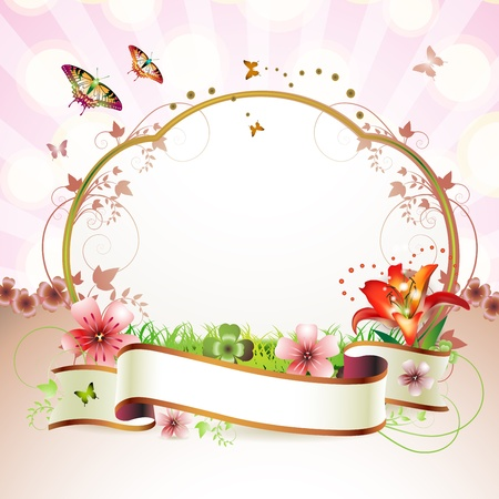 flower art: Banner with flowers and butterflies