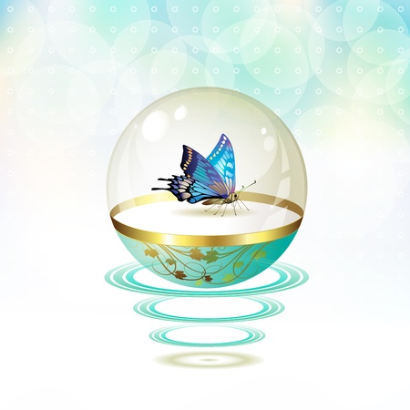 mormon: Butterfly isolated in glass globe suspended with waves