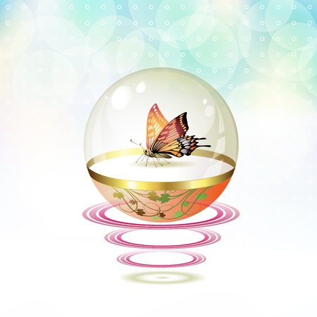 mormon: Butterfly isolated in glass globe suspended with waves Illustration