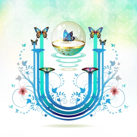Springtime background with butterflies in glass globe Vector