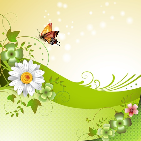 clover background: Springtime background with flowers and butterflies