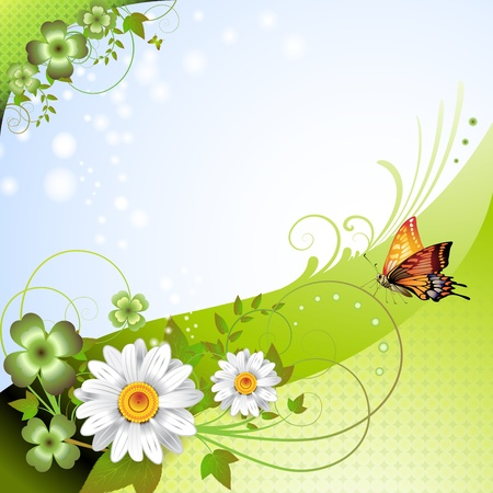 springtime: Springtime background with flowers and butterflies