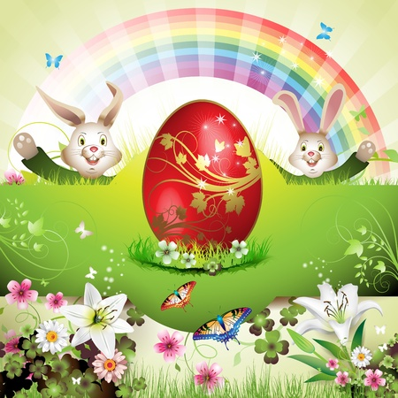 Easter card with bunny, butterflies and decorated egg on grass  Vector