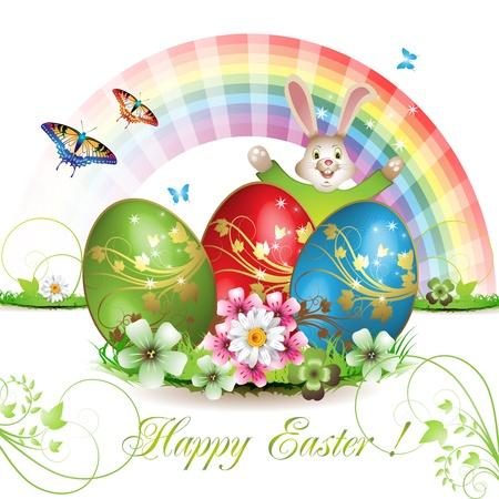 Pasen kaart met bunny, vlinders en versierd ei op gras