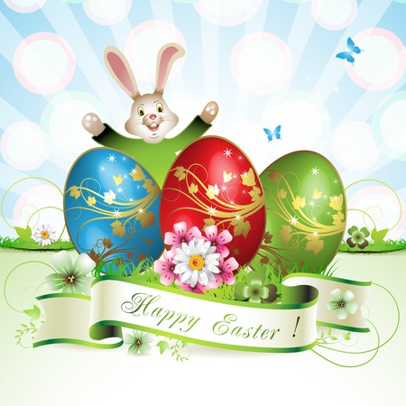 Easter card with bunny, butterflies and decorated egg on grass Stock Vector - 13007795