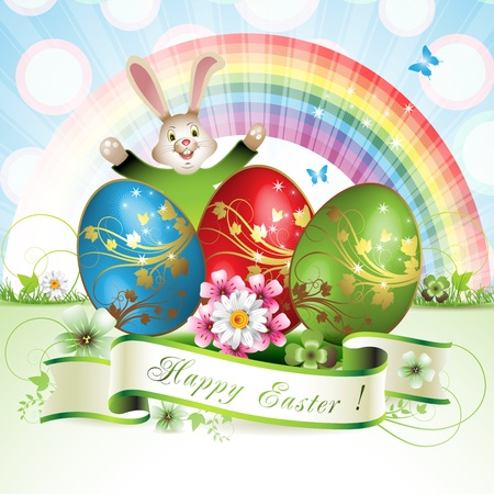 Easter card with bunny, butterflies and decorated egg on grass Stock Vector - 13007787