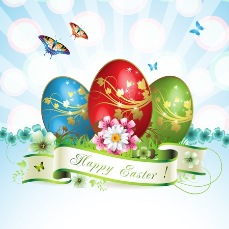 Easter card with butterflies and decorated egg on grass  Vector