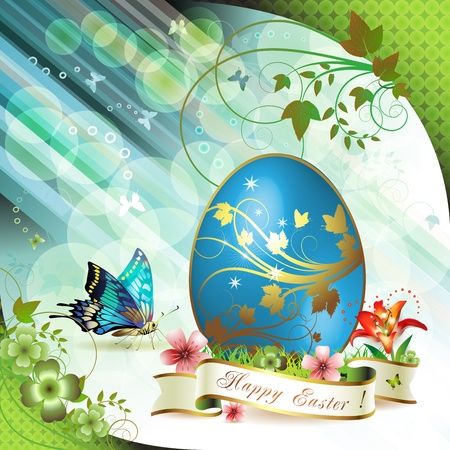 gold eggs: Easter card with butterflies and decorated egg on grass Illustration