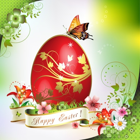 Easter card with butterflies and decorated egg on grass  Stock Vector - 13007774