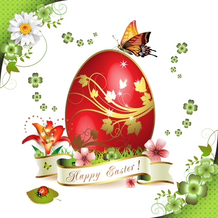 Easter card with butterflies and decorated egg on grass  Stock Vector - 13007771