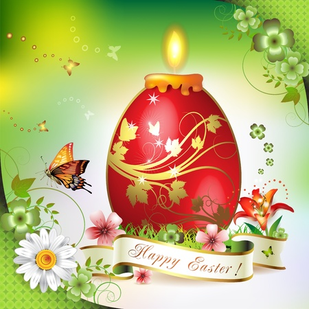 chocolate egg: Easter card with butterflies, candle and decorated egg on grass
