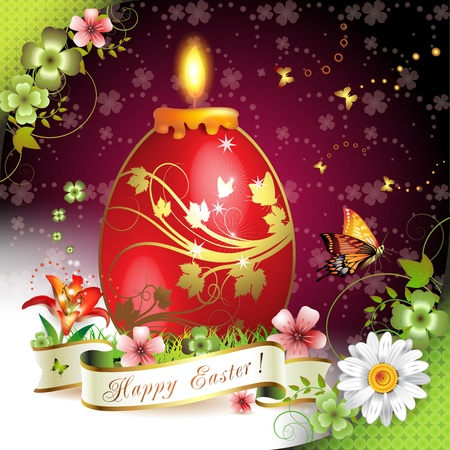 Easter card with butterflies, candle and decorated egg on grass Stock Vector - 13007781