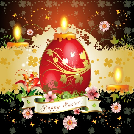 ambience: Easter card with butterflies, candle and decorated egg on grass  Illustration