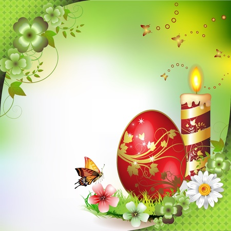 Easter card with butterflies, candle and decorated egg on grass Vector