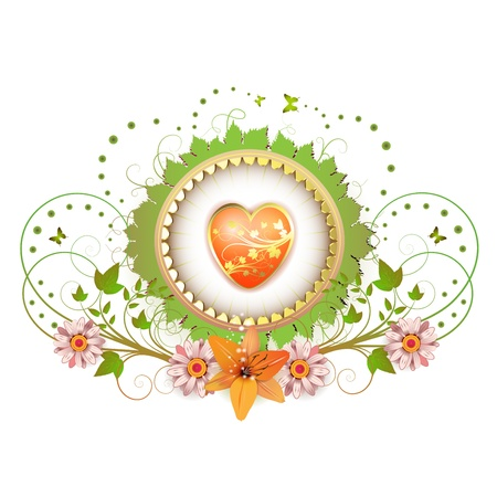 orange lily: Heart and frame with flowers Illustration