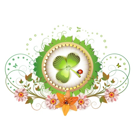 Frame with clover, flowers and ladybug for St  Patrick s Day  Vector