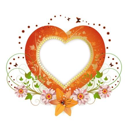 Frame achtergrond met hart vorm en bloemen