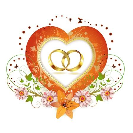 Cadre en forme de coeur avec et deux anneau de mariage