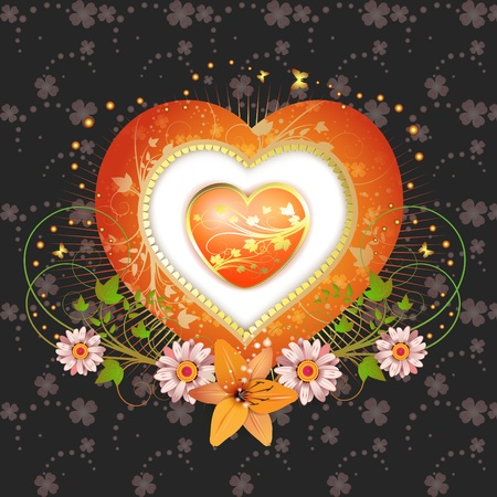 Floral frame with shape heart Stock Vector - 13007772