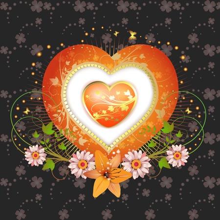 golden daisy: Marco floral con forma de coraz�n Vectores