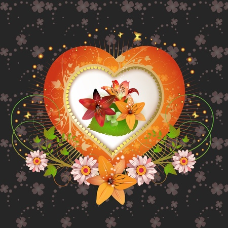 Floral frame with shape heart Vector