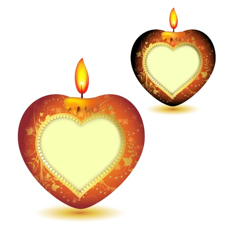 Two elegant red candles with heart shape Vector