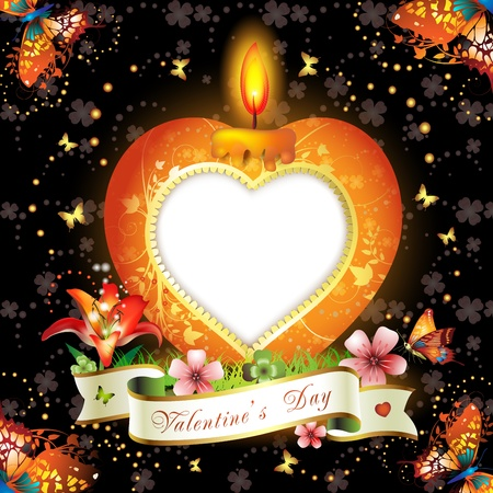 lit candles: Valentine s day card  Red elegant candle with heart shape Illustration
