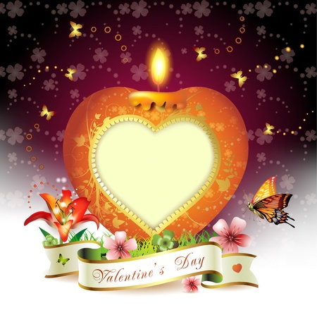 ambiance: Valentine s day card  Red elegant candle with heart shape Illustration