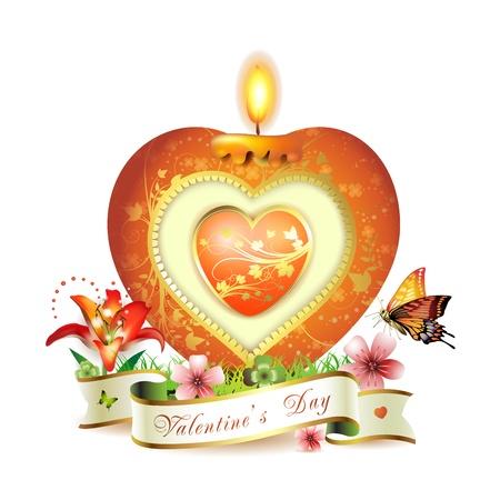 bougie coeur: Valentine s carte à la journée rouge bougie en forme de c?ur avec élégante