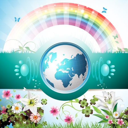 recycling symbol: Blue Earth with flowers, butterflies and rainbow