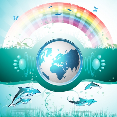 sun protection: Eco Blue Earth, el agua limpia, el buceo con delfines Vectores