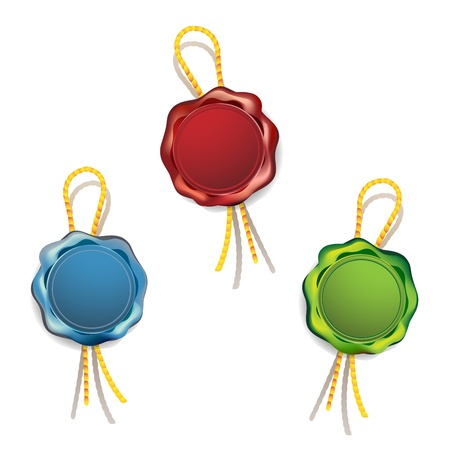 Sealing wax, blank seals of different colors Vector