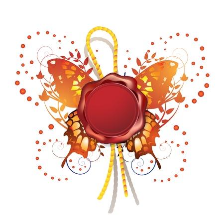El lacre con Mariposas decorativas Ilustración de vector