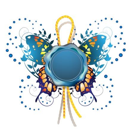 Zegellak met decoratieve vlinder