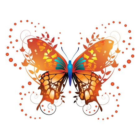 Stylized red butterfly with twigs curls Illustration