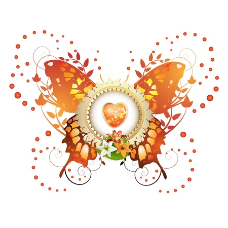 Heart and frame with flowers arrangement and decorative butterfly  Vector