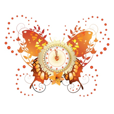 Clock design with Valentine s day theme over colored butterfly  Vector