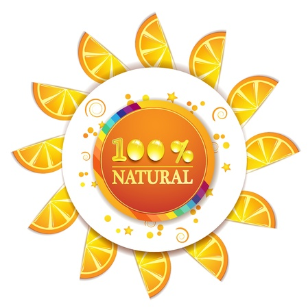 natural juices: Frame with slice of orange and percentage quality