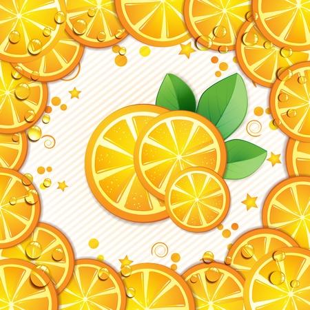 Slices orange with leaf Vector