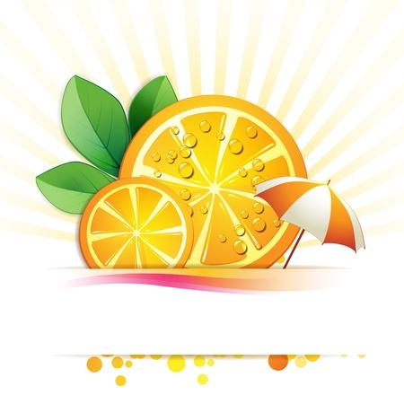 orange juice glass: Slices orange with leaf and umbrella